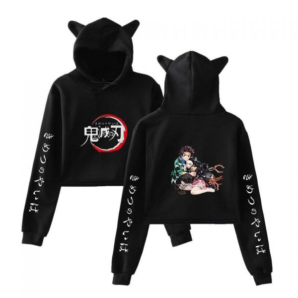 Demon Slayer Crop Top Hoodie  Tanjiro Protecting Nezuko Black / XS Official Demon Slayer Merch