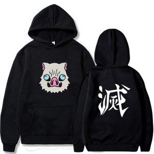 Demon Slayer Hoodie  Kawaii Inosuke  Boar Head Black / S Official Demon Slayer Merch