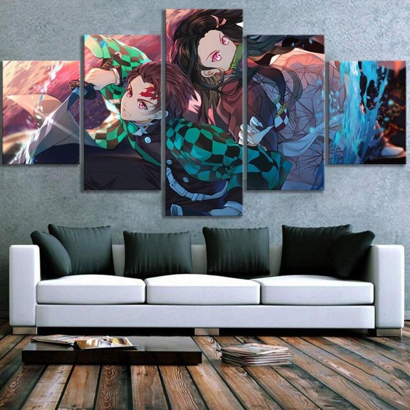 Demon Slayer Canvas  Tanjiro and Nezuko Size 1: With Frame Official Demon Slayer Merch